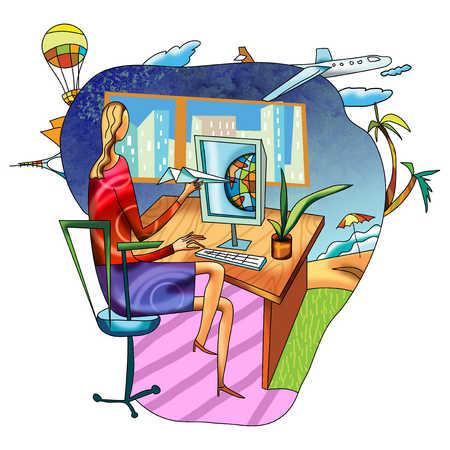 Woman sitting at computer dreaming of vacations