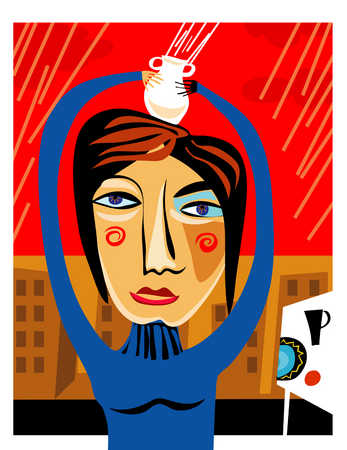Woman holding drink over her head