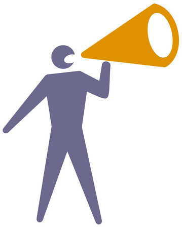 View of a man using a megaphone