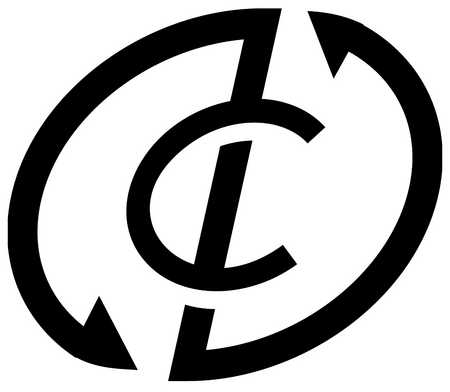 View of arrows surrounding a letter C