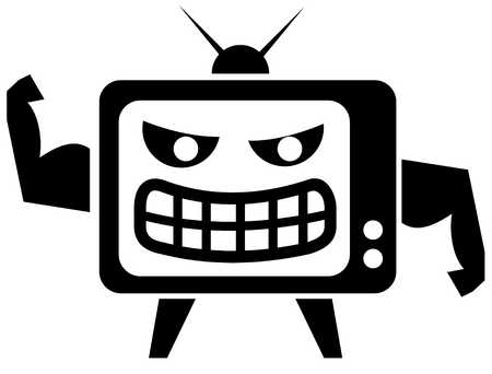 View of a television with arms and legs and a face flexing its muscles
