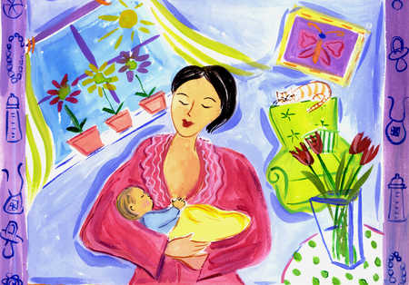View of a woman holding her baby