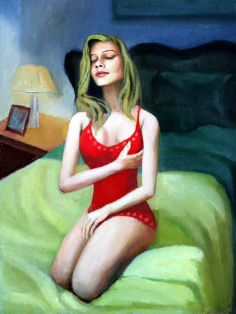 Woman sitting on bed