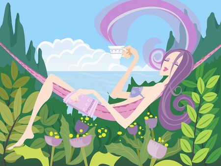 Woman lying in hammock, holding coffee cup