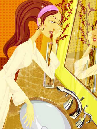 Woman applying mascara in bathroom