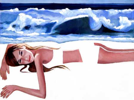 Woman lying on beach, portrait