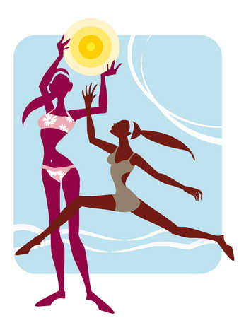Two women in swimwear, playing with flying disk