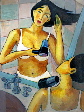 Woman looking in mirror, drying hair with hair dryer