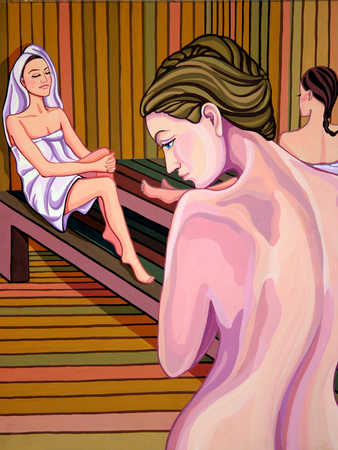 Three woman relaxing in sauna