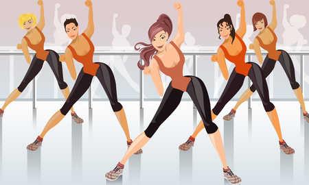 Young women performing aerobics, smiling, close-up