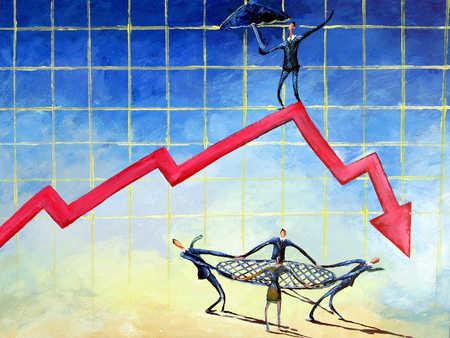 Businessman on line graph, colleagues holding net