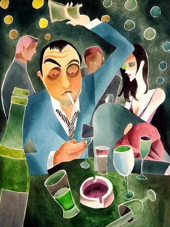 Man sitting in bar smoking cigarette