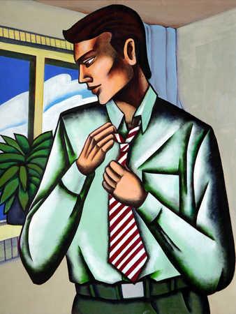 Businessman adjusting tie, looking down, close-up