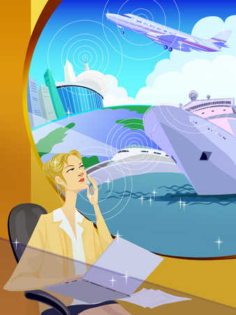Woman in office, thinking of modes of transport