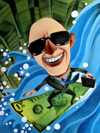 Businessman floating on banknote, smiling