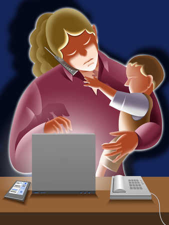 Mother with son (9-15 months) using, laptop and mobile phone