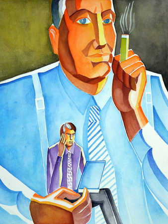 Businessmen with laptop and cigarette