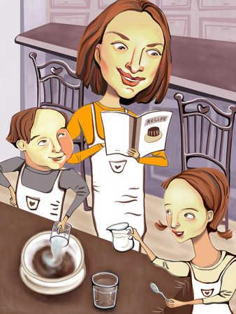 Mother with children (6-9) in kitchen