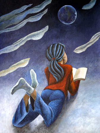 Girl (8-11) viewing moon, lying on floor with book