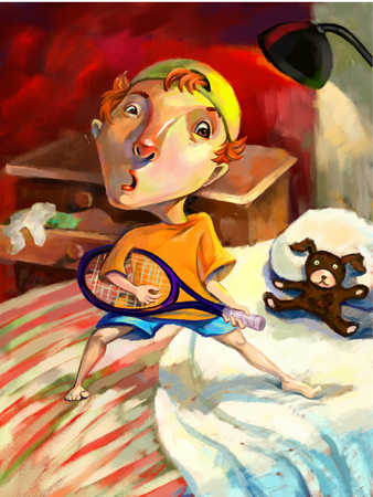 Boy (6-9) standing on bed with badminton racquet