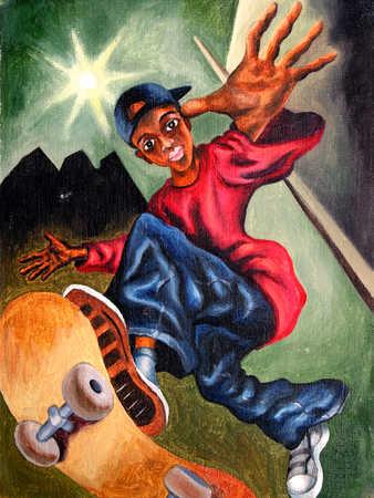 Teenage boy (13-16) performing jump on skateboard, low angle view