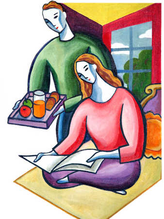 Young man serving breakfast, woman reading book