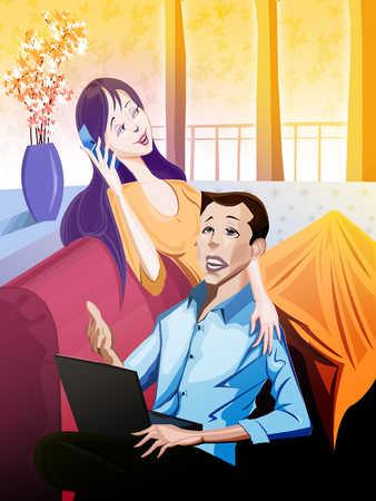 Man using laptop, woman on mobile phone