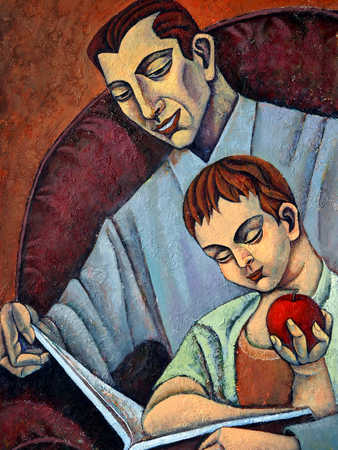 Father with son (6-7) reading book, holding apple