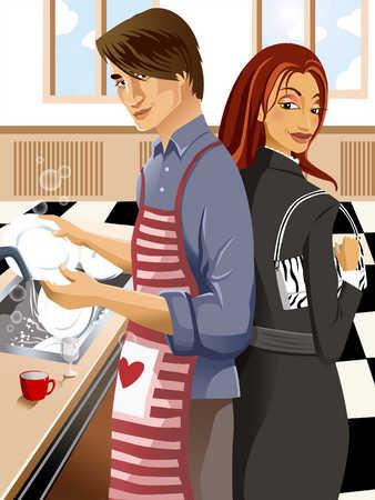 Man at sink washing dishes, woman with handbag