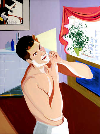 Young man shaving, looking away
