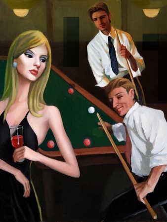 Men and women playing pool in nightclub