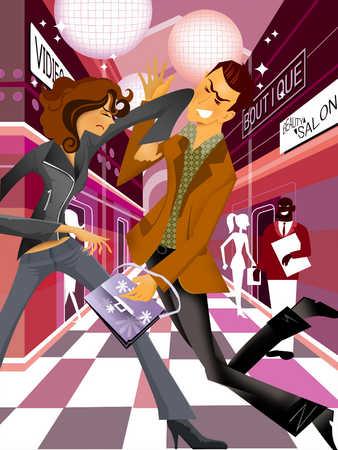 Thief stealing women's handbag