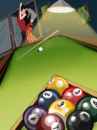 Young couple embracing by pool table