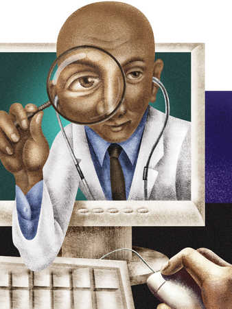 Doctor using magnifying glass through computer