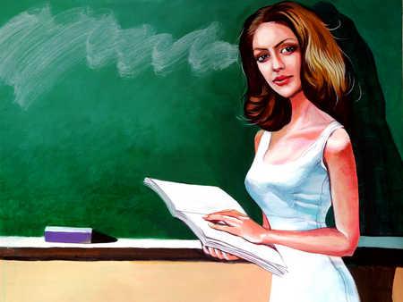 Teacher teaching with book in classroom