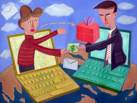 Businessman receiving gift from woman
