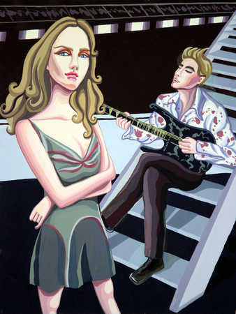 Young couple, man sitting on steps playing guitar