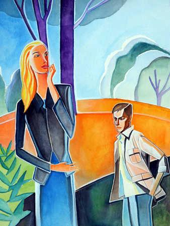 Men and women standing outdoors