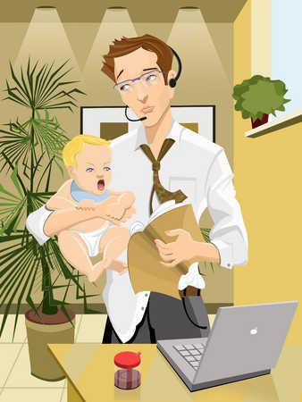 Father carrying baby boy (9-12 months), working from home