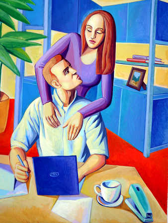 Young woman leaning over man working on laptop