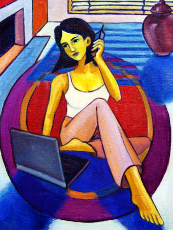 Young woman using laptop and mobile phone, elevated view