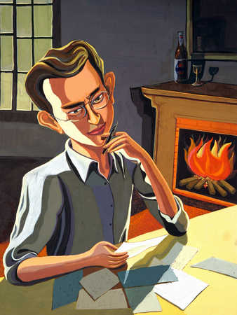 Man working at home by fireplace