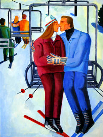 Couple embracing in cable car