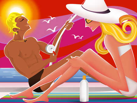 Woman applying lotion, man fishing