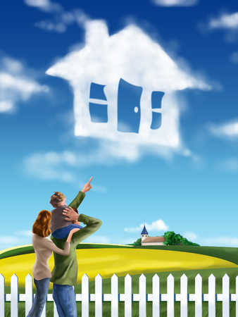 Parents with son (4-5) looking at house in sky, rear view