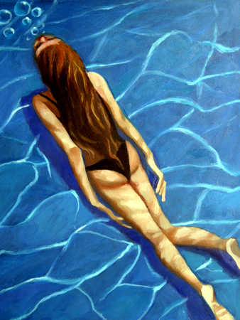 Young woman swimming, elevated view