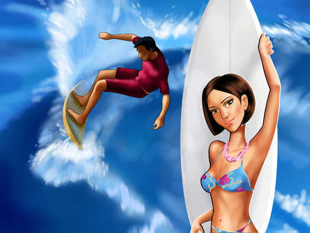 Man surfing, woman holding surfboard, close-up