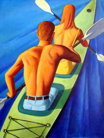 Couple in kayak, rear view