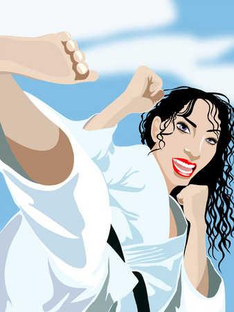 Young woman practicing martial arts, close-up