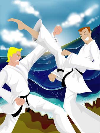 Young men practicing martial arts